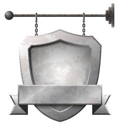 Shield shaped rusty metal signboard vector image vector image