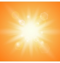 Summer sun on orange background vector image vector image