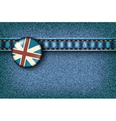 Badge with the UK flag on the jeans vector image