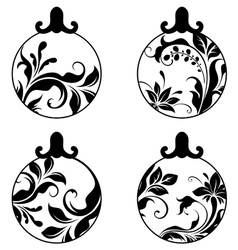 black and white xmas balls vector image vector image