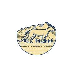 Cougar Mountain Lion Tree Mono Line vector image vector image