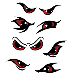 Danger red eyes set vector