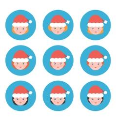 Flat design christmas female avatars icons vector image vector image