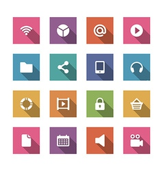 Flat icons set for design web sites and mobile vector image vector image