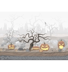 Fog day scary horror halloween background with vector image