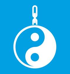 Sign yin yang icon white vector