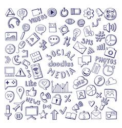 social media hand drawn icons set computer and vector image
