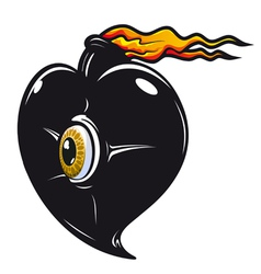 Black heart with fire flames vector image