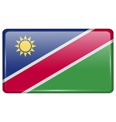 Flags Namibia in the form of a magnet on vector image