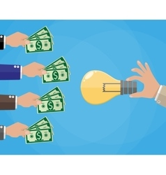 Hands with money and idea bulb Crowdfunding vector image
