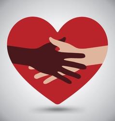 Handshake Helping Hands On Red Heart vector image vector image