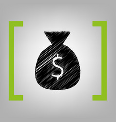 money bag sign black vector image vector image