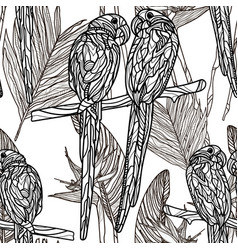 seamless monochrome pattern with parrots vector image vector image