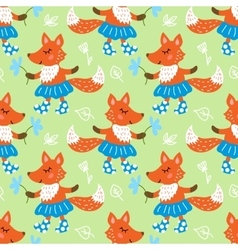 Seamless pattern with fox vector image