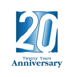 20 years anniversary blue square frame background vector