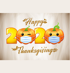 2020 pumpkins emo characters medical masks vector image