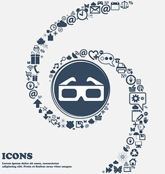 3d glasses icon in the center Around the many vector