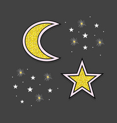 Abstract golden moon and stars icons on black vector