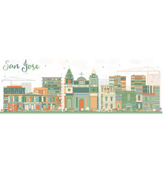 Abstract san jose skyline with color buildings vector