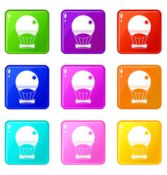 Aerostat balloon icons 9 set vector