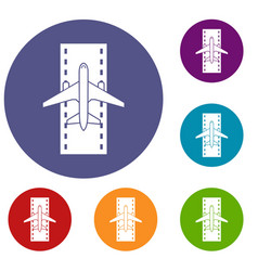 airplane on the runway icons set vector image