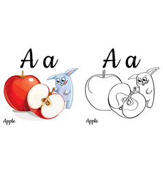 apple alphabet letter a coloring page vector image