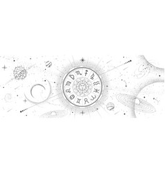 astrology wheel with zodiac signs on outer space vector image