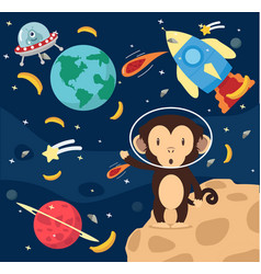 Astronaut monkey in space flat design background vector