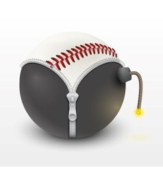 Baseball leather ball inside a burning bomb vector