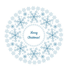 beautiful winter garland made of blue snowflakes vector image