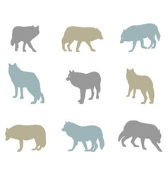 Big set of silhouettes of wolves vector