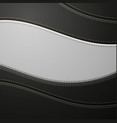 black and white leather with stitch background vector image