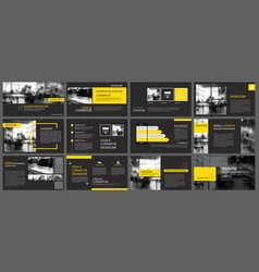Black yellow presentation templates and vector