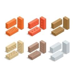 Bricks isolated on white Brick icon set Flat 3d vector image