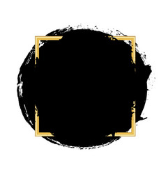 brush circle stroke gold text box isolated white vector image
