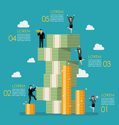 business people try to climbing money mountain vector image