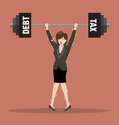Business woman lifting a heavy weight of debt and vector image