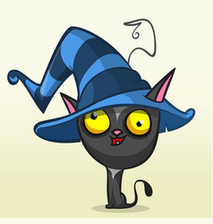 cat in witch hat cartoon vector image