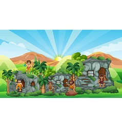 Cave people living in stone house vector