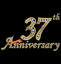 Celebrating 37th anniversary golden sign with vector