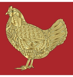 Chicken gold stylized on red background vector image