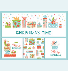 christmas banner set cute gift box presents vector image