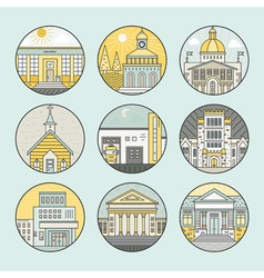 City architecture icons vector