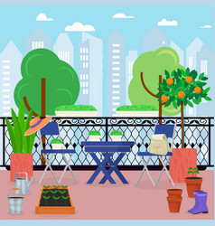 City house balcony veranda with gardening vector