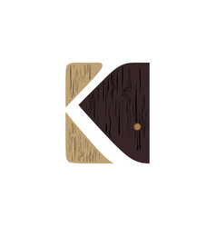 creative logo letter k wood design vector image