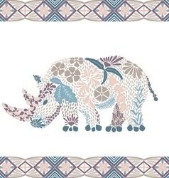 Creative rhino pattern made from flowers leaves vector