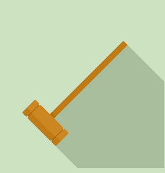 croquet wood mallet icon flat style vector image