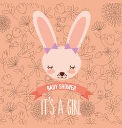 cute female rabbit baby shower girl vector image