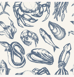 Delicious seafood - hand drawn seamless pattern vector
