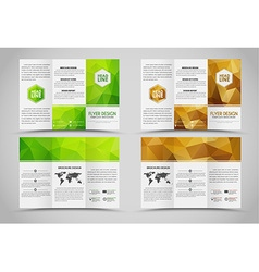 Design folding brochures with polygonal elements vector image